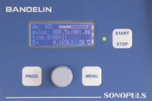 Bedienfeld des Ultraschall-Homogenisators Sonopuls HD 3400